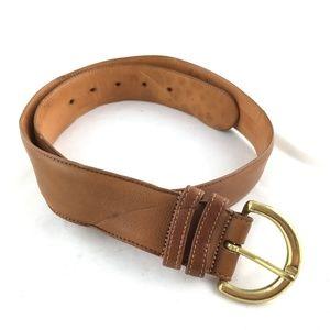 British Tan leather belt brass buckle round 8500 L